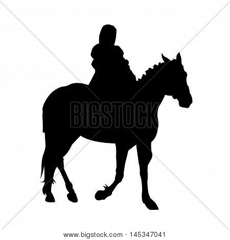 Woman Riding Horse Silhouette on White Background. Isolated vector illustration animal and people theme.