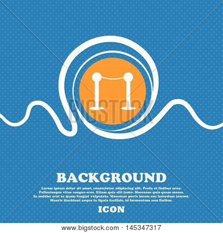 Cinema Fence Line Icon Sign. Blue And White Abstract Background Flecked With Space For Text And Your