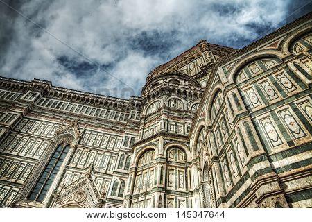 dramatic sky over Santa Maria del Fiore cathedral Italy