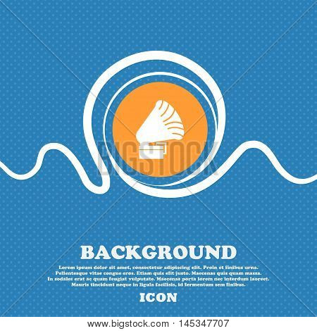 Gramophone Icon. Sign. Blue And White Abstract Background Flecked With Space For Text And Your Desig