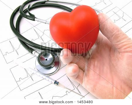 Ecg Ekg Stethoscope And Heart