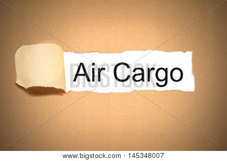 brown package paper carton torn to reveal white space air cargo