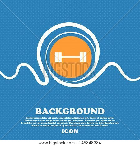 Dumbbell Icon Sign. Blue And White Abstract Background Flecked With Space For Text And Your Design.