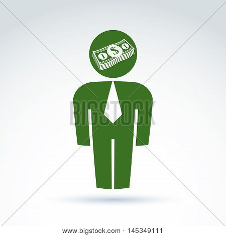 Silhouette of person standing in front, vector illustration of an financier. Delegate consultant white-collar worker CFO. Vector banking symbol dollar currency icon bundle of money.