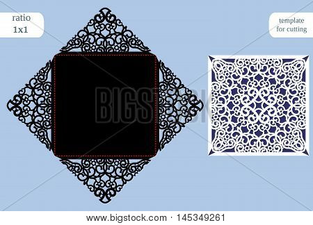 Paper openwork square greeting card wedding congratulation template for cutting lace imitation cut on plotter vector illustration