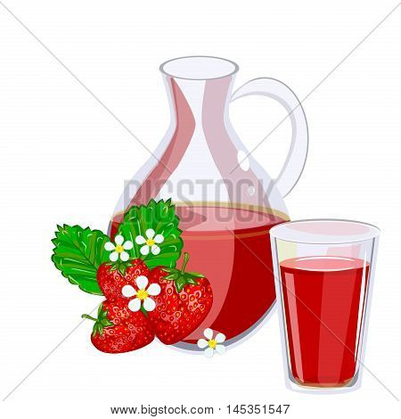 Full jug of strawberry juice isolated on white vector set. Glass jug of strawberry juice fruit fresh beverage natural green organic vitamin. Vector set fresh and cold strawberry juice healthy fruit drink