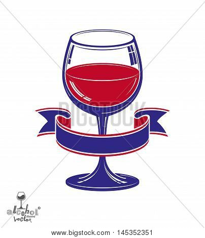 Realistic goblet of wine with decorative ribbon anniversary idea design object.