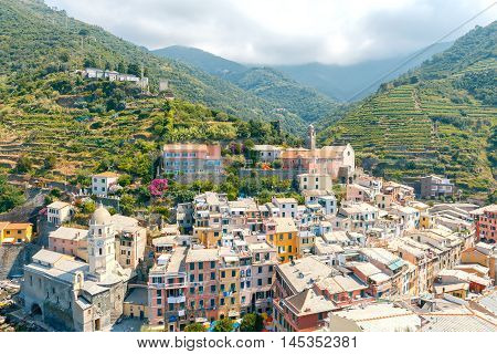 Colorful facades of the old houses in the village Vernazza. Cinque Terre National Park, Liguria, Italy.
