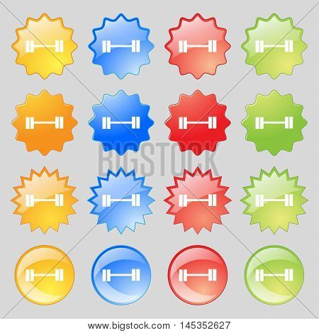 Dumbbell Icon Sign. Big Set Of 16 Colorful Modern Buttons For Your Design. Vector