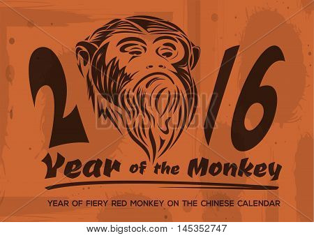 2016 - Year of fiery red monkey on the Chinese calendar. Red monkey on a grunge background. Vector illustration.