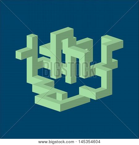 three dimension green isometric abstract shape on blue background