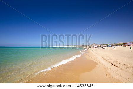 Long sandy beach between Eraclea Minoa and Torre Salsa Sicily Italy