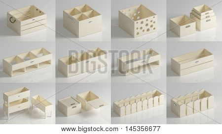 Set of plywood boxes and boxes of wood or chipboard in light colors. 3d rendering.
