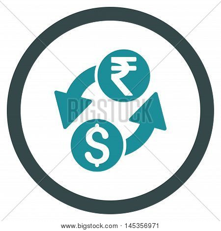 Dollar Rupee Exchange vector bicolor rounded icon. Image style is a flat icon symbol inside a circle, soft blue colors, white background.