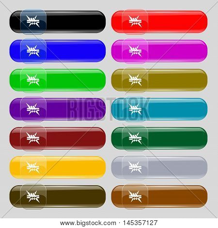 Barbed Wire Icon. Sign. Set From Fourteen Multi-colored Glass Buttons With Place For Text. Vector