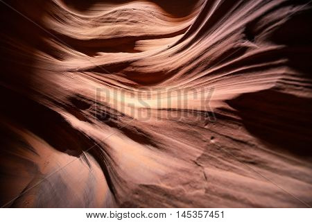 Red sand rock eroded by water and wind inside mountain cave. Antelope canyon. Arizona America. USA. Grand Canyon Geological zone. Upper Antelope Canyon is a famouse tourist spot in Grand Canyon Area