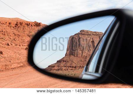 The mittens Mesa view from rear mirror at Monument Valley Navajo Tribal Park Arizona USA