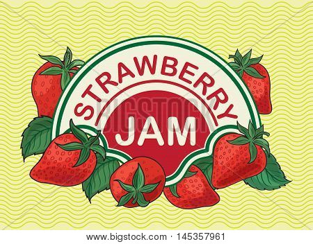 Strawberries, label for strawberry jam. tag, banner.