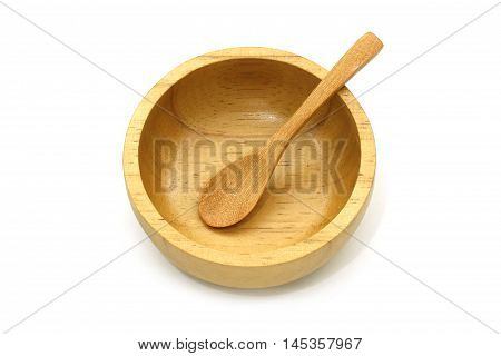 Isolated Empty Wooden Bowl And Spoon On White Background With Clipping Path