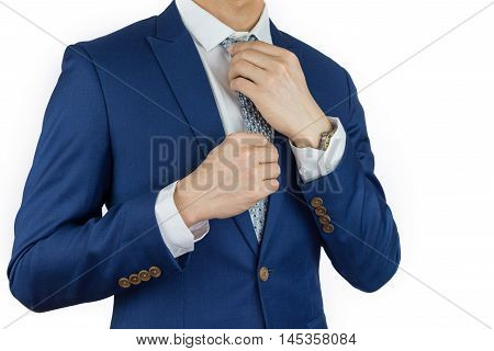 businessman fitting up blue suit and necktie. Formal dress code for conference. Man accessories. Elegant person dress code.