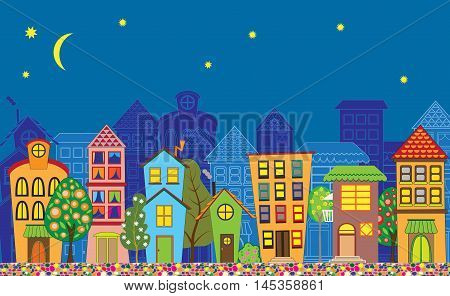 Background with funny old town buildings in the evening.