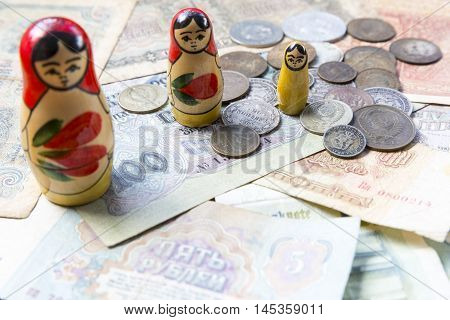 Sofia, Bulgaria - May 15, 2016: Old russian ruble money with three Matroshka dolls. Former currency of the Russian Empire and Soviet Union - USSR. Rushhian finance.