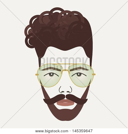 Young dark brown hair hipster male with mustache, beard and green lenses glasses