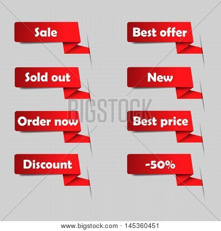 Red sale tags for website. Set of vector announcement. Eshop labels.