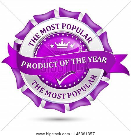 Most popular product of the year - elegant metallic purple business ribbon / icon