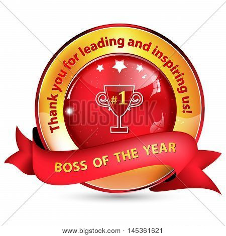 Boss of the Year - Thank you for leading and inspiring us - golden red shiny ribbon / icon