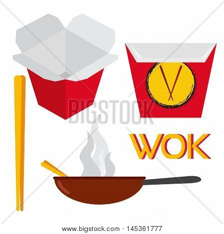 Set of asian and chinese food. Logo design elements - cafe and food delivery illustrations in trendy flat style