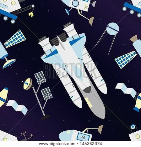 Shuttle, satellites, moon rover and deep space with stars pattern. Seamless pattern of cosmos. Vector illustration.
