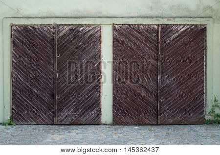 Two old wooden garage doors on green house
