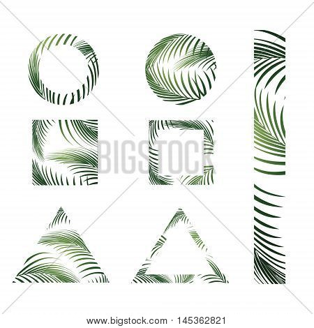 Illustration of Abstract Jungle Palm Leaves Design Collection