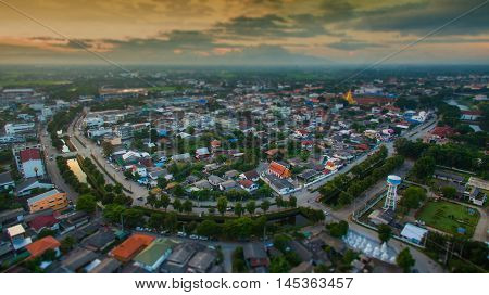 Tilt shift effect Aerial view of lamphun citynorth in thailand