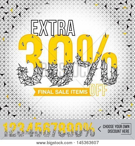 Final Sale items with polygonal numbers. Extra sale. Sale poster. Special offer. 30% off.