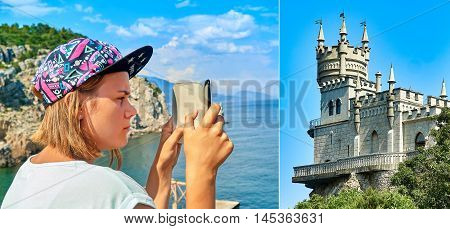 Girl teenager photographed Swallow's Nest Castle on the South Coast of the Crimea on the smartphone