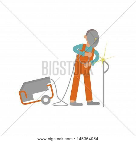 Welder working in modern flat design. Cartoon of construction . Work profession, suitable for illustration construction work on building. Vector illustration eps 10