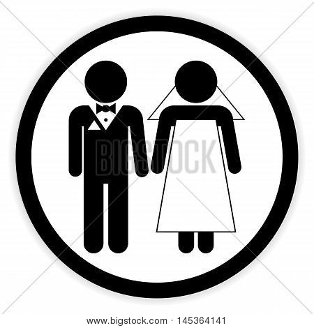 Wedding couple button on white background. Vector illustration.