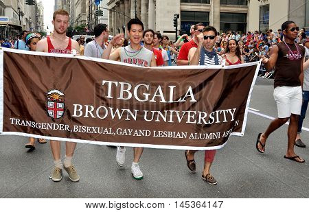 New York City - June 25 2011: TBGALA group from Brown University marching in the 2011 Gay Pride Parade on Fifth Avenue