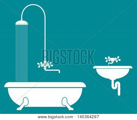 old bathroom with shower and sink. White color. vector