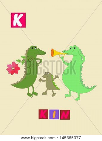 Cute Cartoon English Alphabet With Colorful Image And Word. Kids Vector Abc. Letter K.