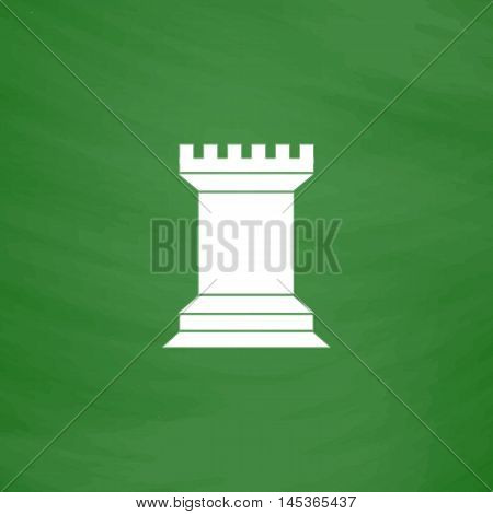 Chess Rook Simple line vector button. Imitation draw with white chalk on blackboard. Flat Pictogram and School board background. Outine illustration icon