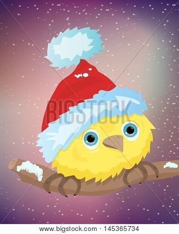 Illustration of yellow bird with santa hat vector