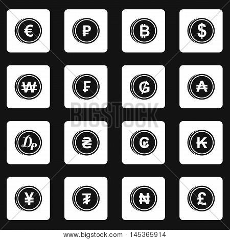 Currency from different countries icons set in simple style. Money coin set collection vector illustration