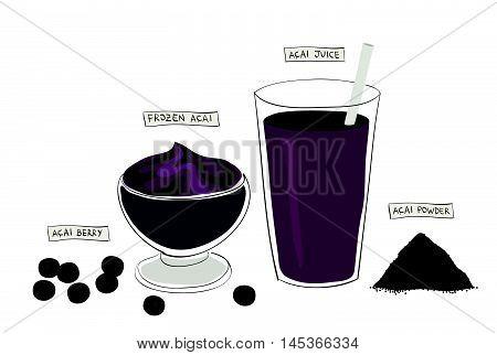 super food variety: acai berry, acai bowl, acai juice and acai powder
