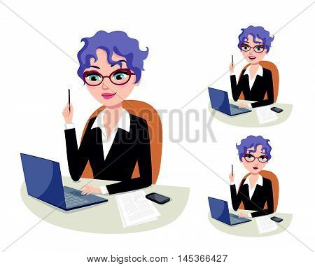 Experienced business woman with eyeglasses holding pencil and solving business problems on her laptop