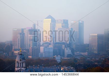 LONDON, UK - OCTOBER 31, 2015: Panorama of Canary Wharf at twilight. View from the Greenwich