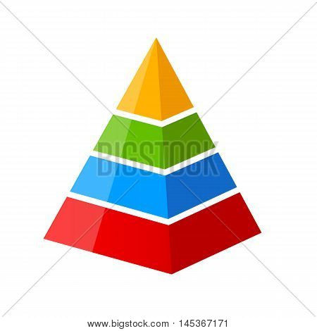 Four part pyramid diagram vector illustration isolated on white background