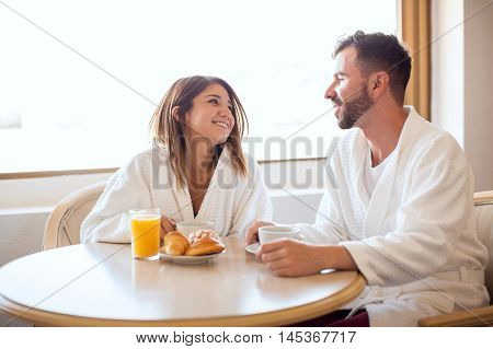 Cute Couple Eating Breakfast Together